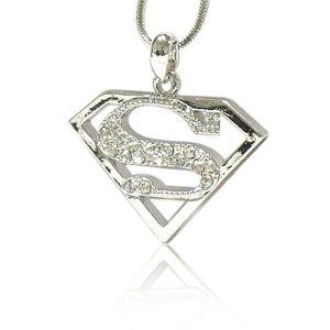 Cool crystal Superman symbol pendant necklace for men