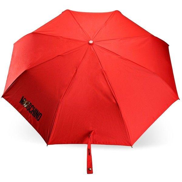 Moschino Mini Umbrella ($67) ❤ liked on Polyvore featuring accessories, umbrellas, red, moschino, logo umbrella, moschino umbrella, mini umbrella and red umbrella