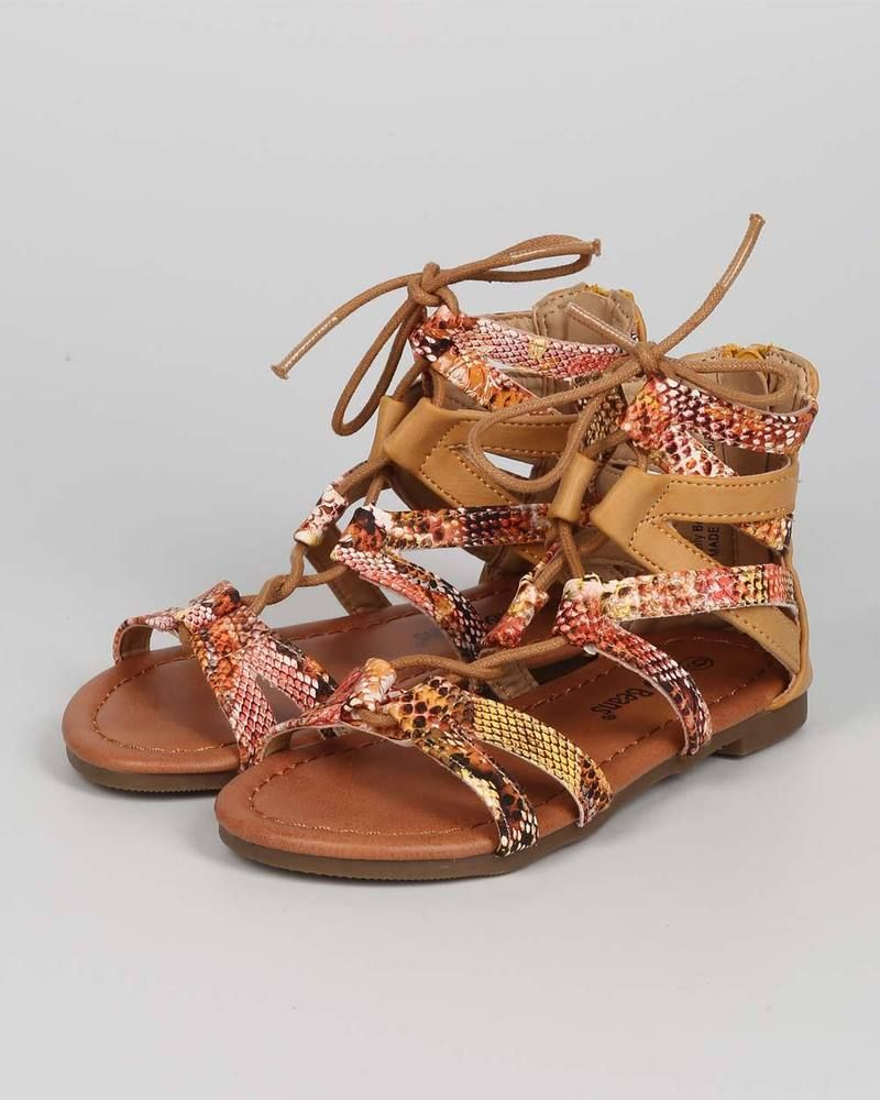 New Girl EC07 Snakeskin Open Toe Criss Cross Lace Up Gladiator Sandal Sz 9 - 4 #JellyBeans #LaceUps