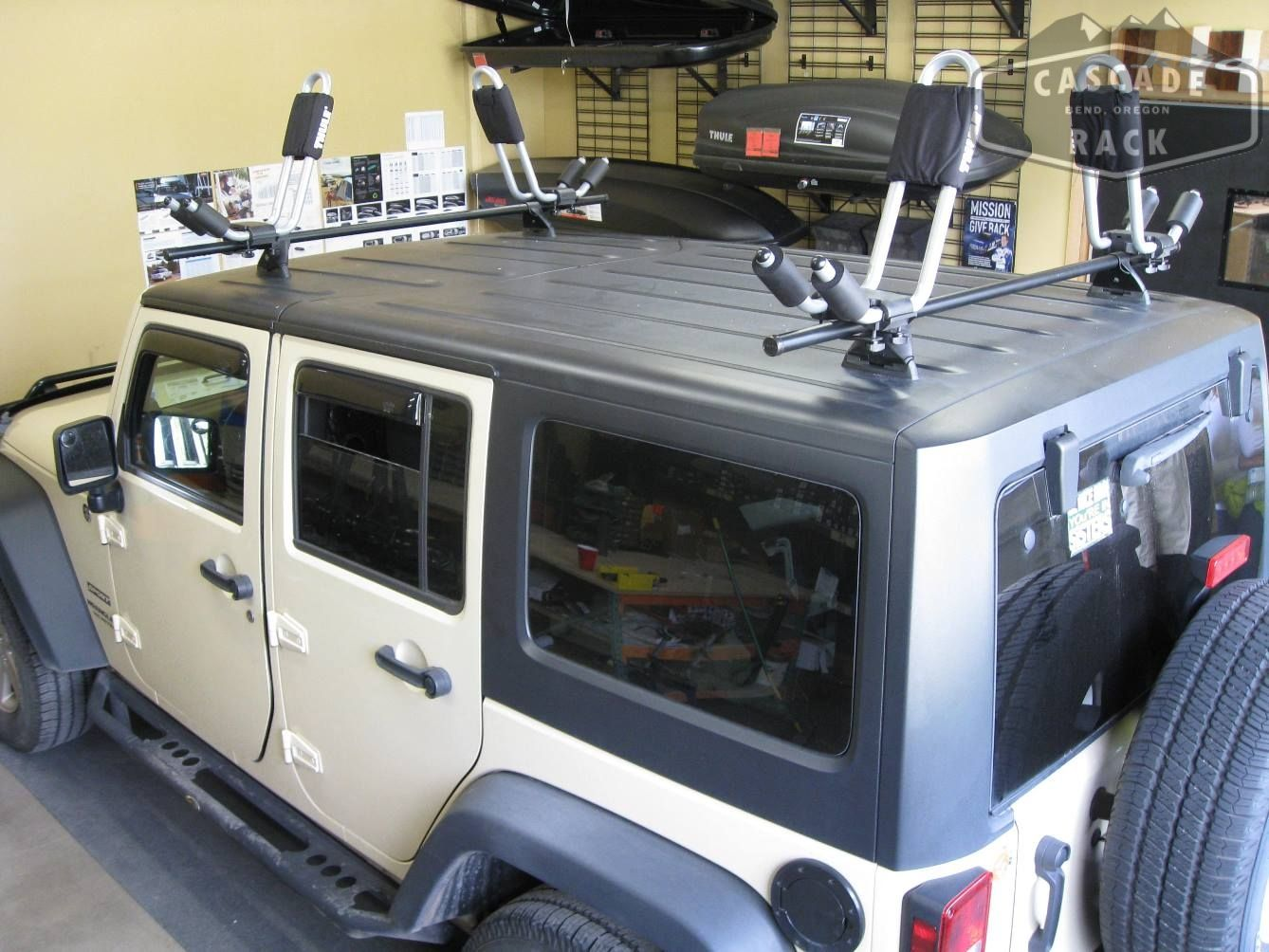Custom Jeep Rack With Thule Hull A Port Kayak Racks Jeep