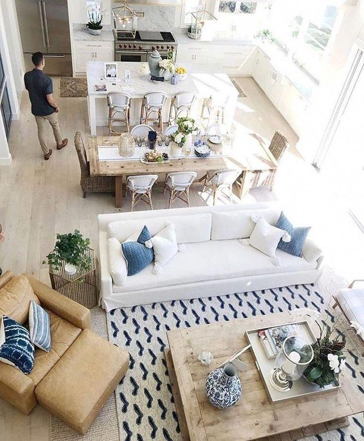 Photo of Beautiful family room inspired by the coast. #beachhouse #coastal …