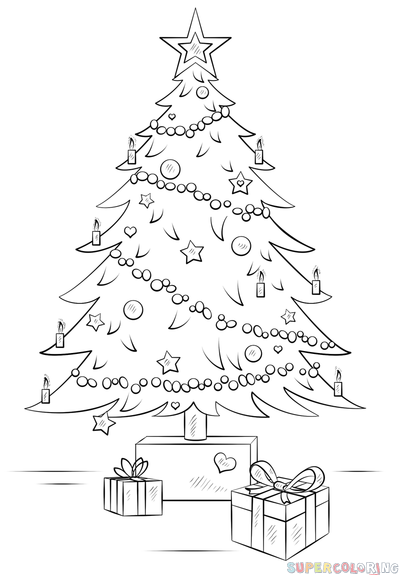 How To Draw A Shristmas Tree Step By Step Drawing Tutorials For