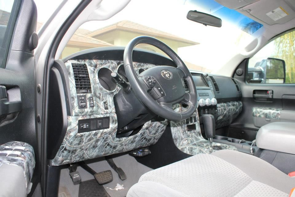 Interior Of A Toyota Tundra Hydrodipped In Camo Amp Skulls