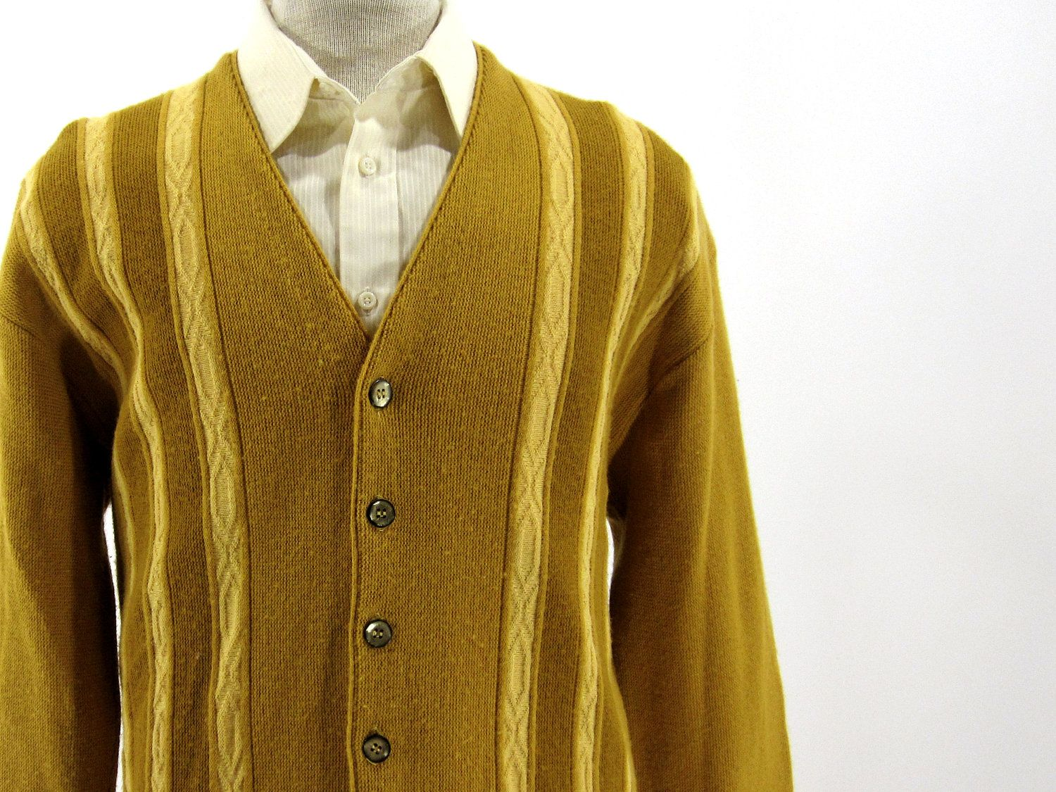 Vintage 1960's Yellow Cardigan Sweater - Mustard Yellow Cream ...