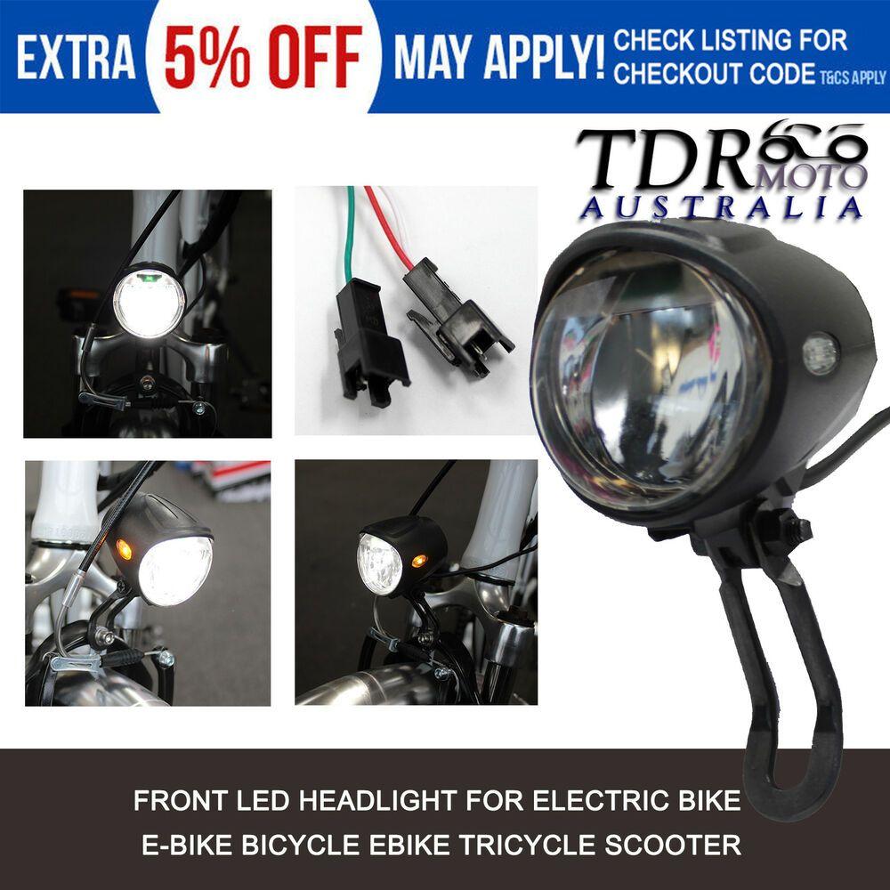 Front Headlight with for Horn LED 36V Light 48V Electric Bike Flashlight Lamp