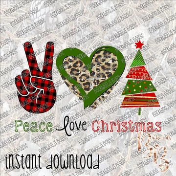 Peace Love Christmas INSTANT DOWNLOAD print file PNG