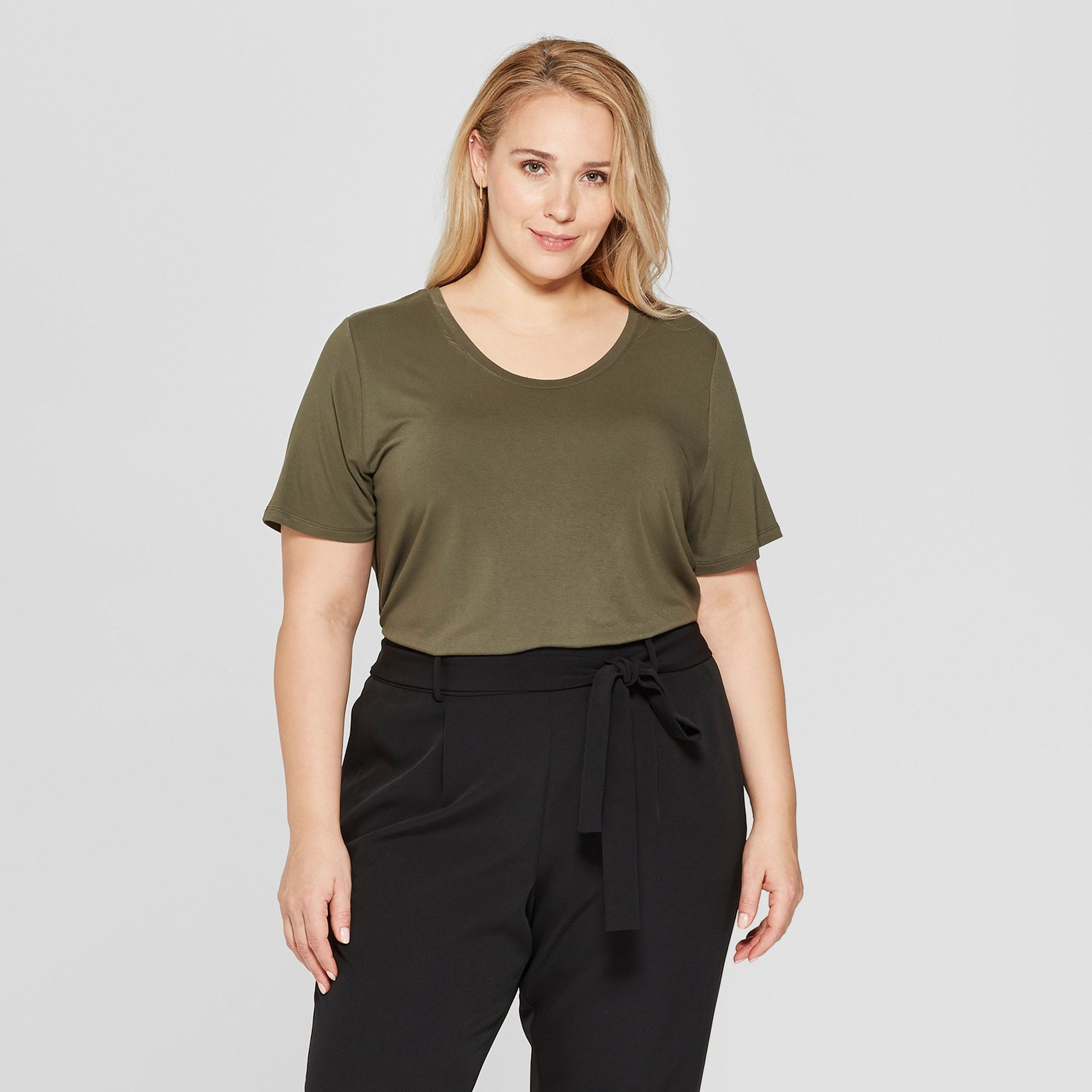 fc17a4da20e Women s Plus Size Short Sleeve Scoop Neck Relaxed T-Shirt - Ava   Viv Olive