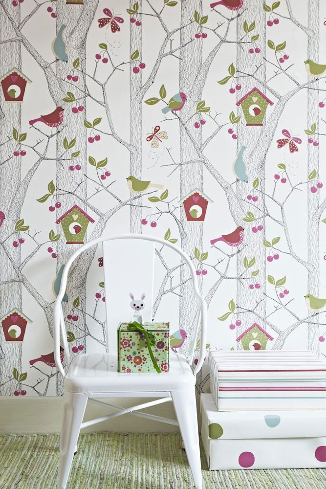 Papel pintado infantil bosque fresa telas papel for Papel tapiz infantil