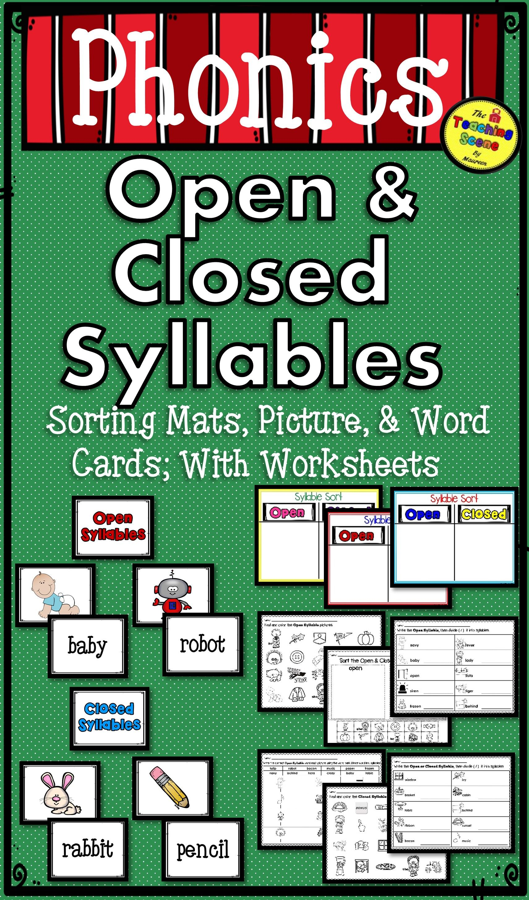 Open Amp Closed Syllables Packet Picture Amp Word Cards