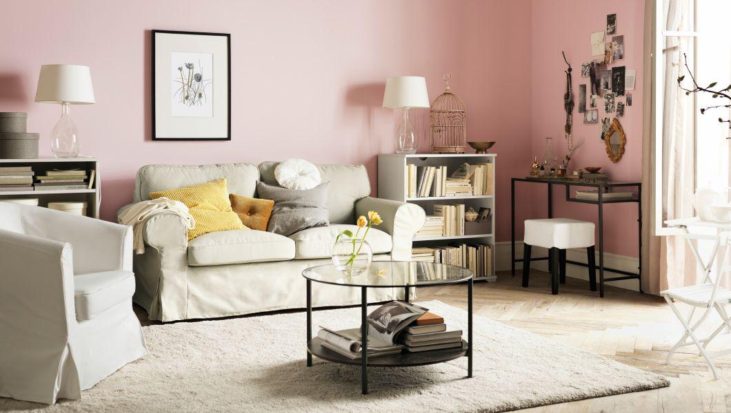 Just not in pink ) Wohnzimmer mit EKTORP 2er-Sofa mit Bezug - wohnzimmer beige rosa