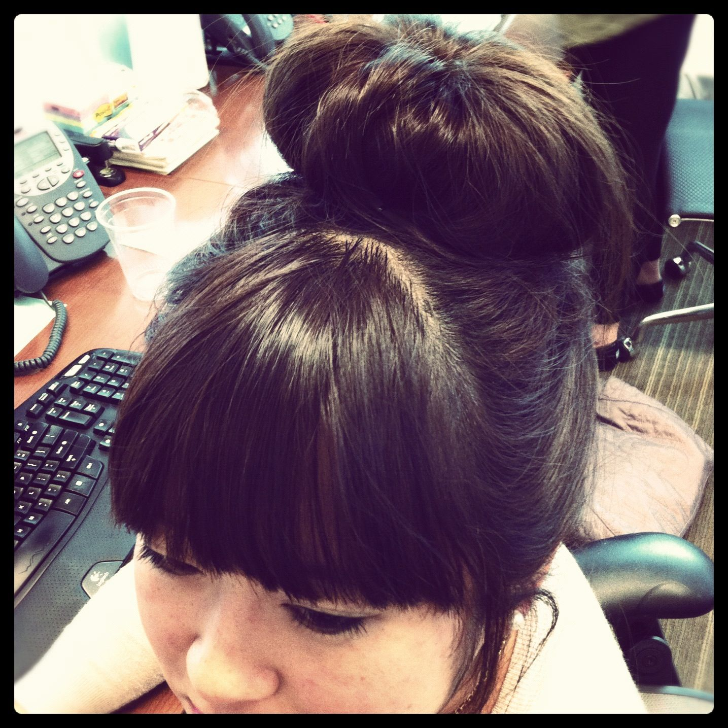 Sock bun with bangs