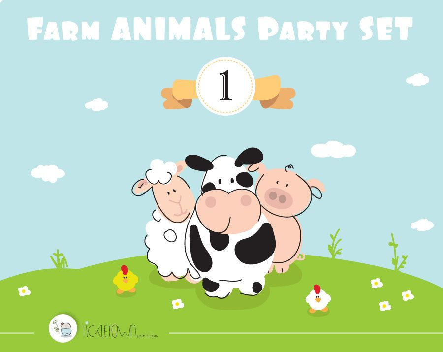 Farm Animals Customizable Birthday Printable Party Set. DIY party decorations. by Tickletown on Etsy