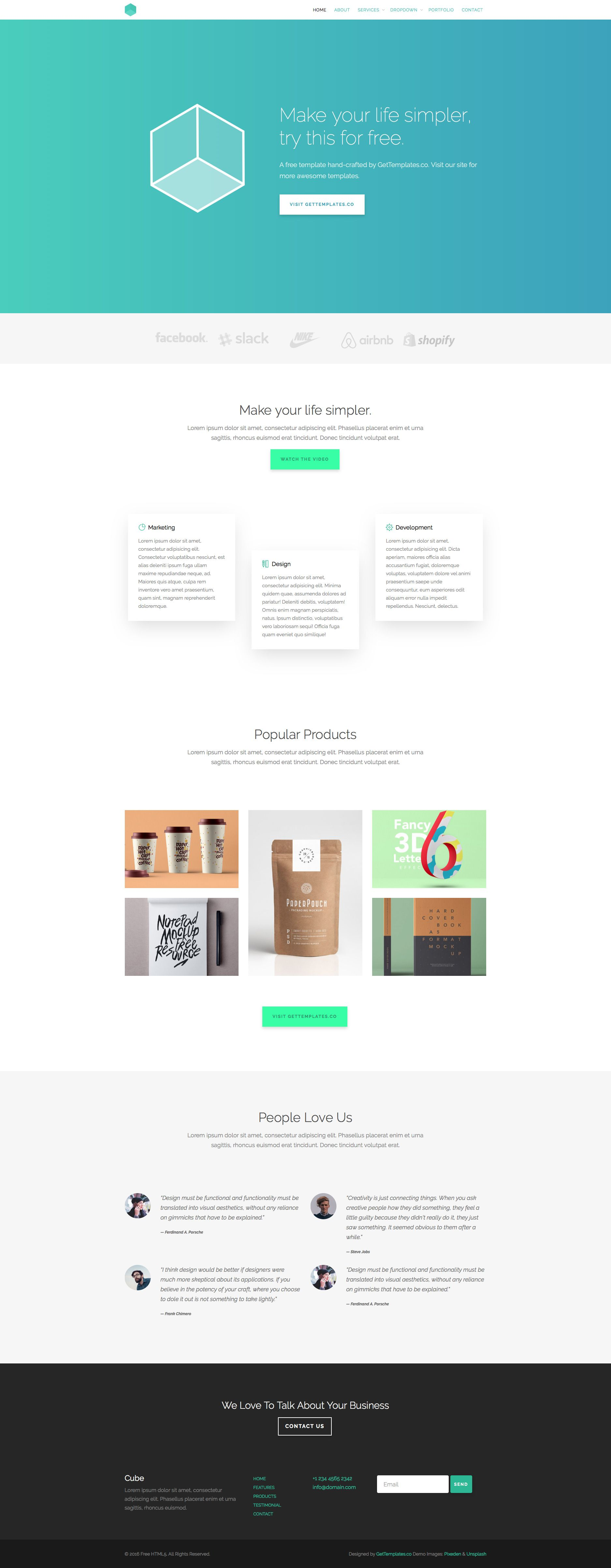 Cube is free responsive HTML5 multipurpose website template based ...