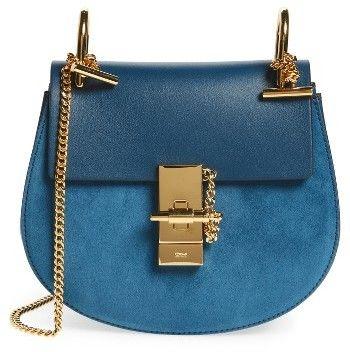 9c4d0bf353e60 Chloe  Mini Drew  Leather Crossbody Bag - Blue
