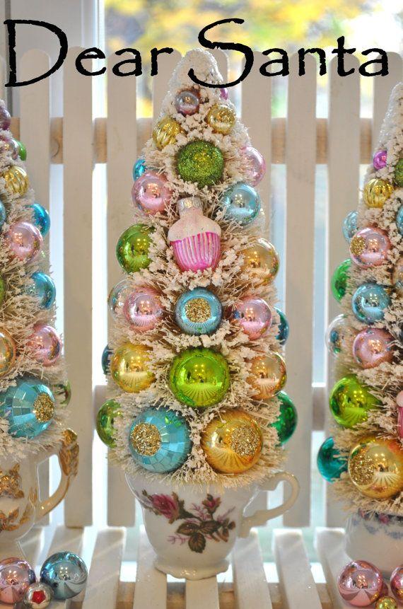 Pink Rose Teacup Bottle Brush Tree victorian rose Christmas vintage glass ornaments garland Chic bottlebrush