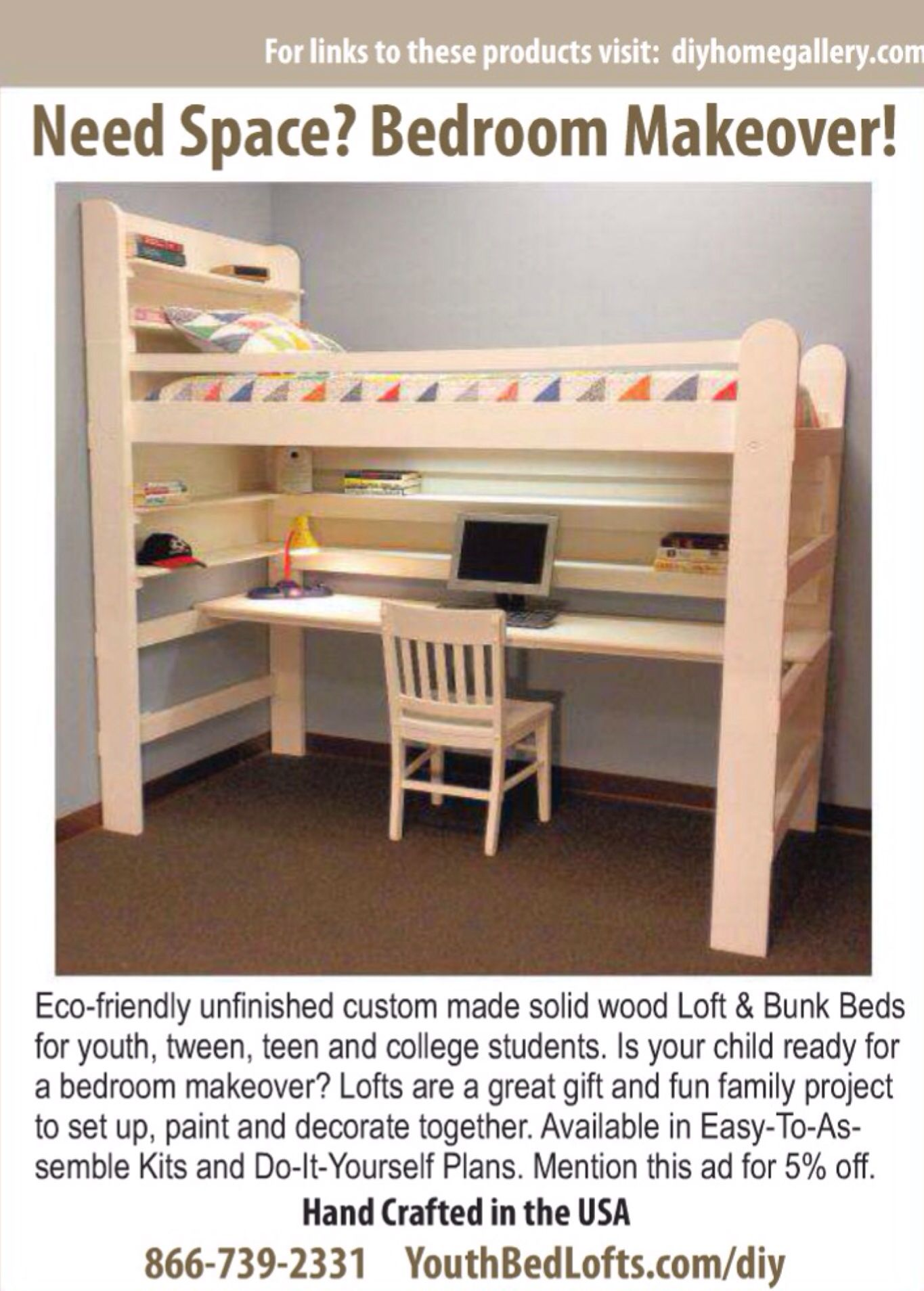 Loft bed with desk for small room  Pin by Abhilesh Narnaware on Bunk bed plans  Pinterest  Bedrooms