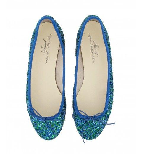 Ballerines paillettes bleu et vert