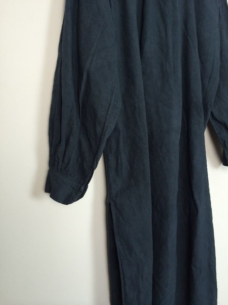 Vtg Linen french antique Black Indigo Patched chore Farmers Smock Shirt Biaude…