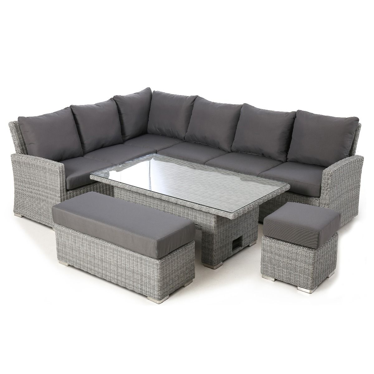 Maze Rattan Ascot Corner Dining Set With Rising Table Grey In 2020 Corner Dining Set Dining Sofa Rattan