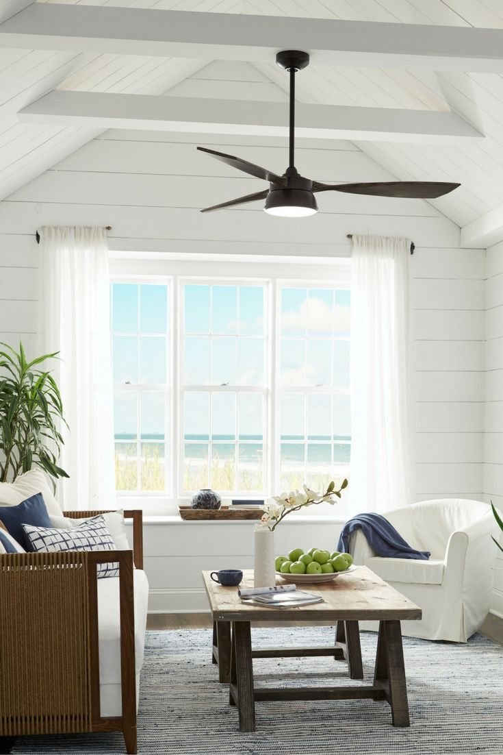 The 57 Destin 3 Blade Ceiling Fan By Monte Carlo Delivers A Refined Modern Look With A Living Room Ceiling Living Room Ceiling Fan Vaulted Ceiling Living Room