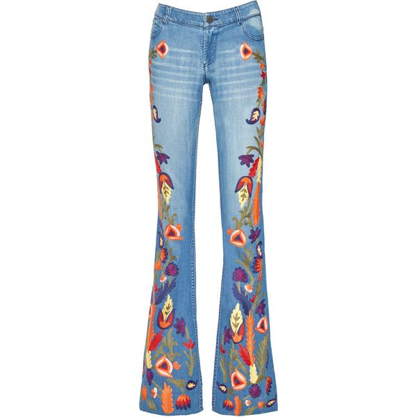 Alice + Olivia Ryley Low Rise Embroidered Bell Jean found on Polyvore  featuring jeans, denim
