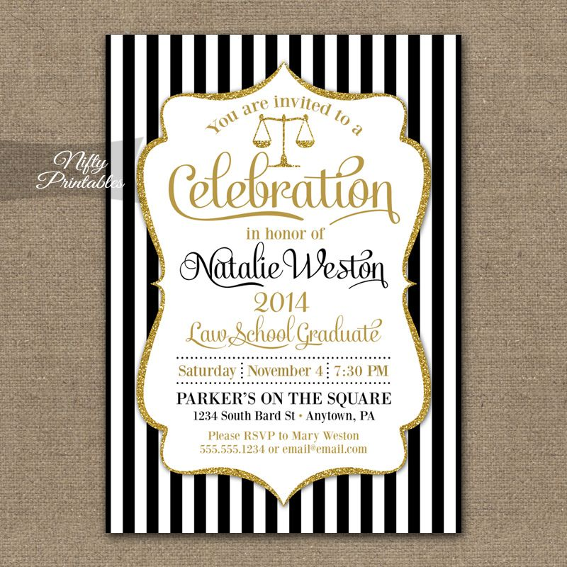 Luxury Law School Graduation Party Invitation Card Design With Stripe Black And White Background Gold
