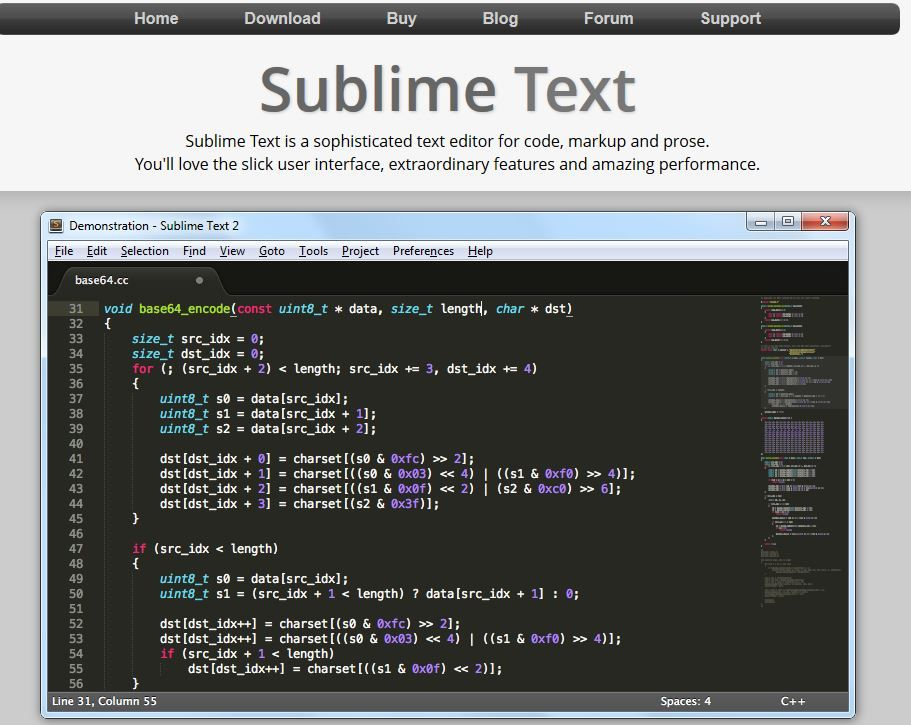 Sublime Text is a sophisticated text editor for code, markup