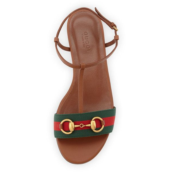 a01b820ff Gucci Leather Web T-Strap Flat Sandal ($580) ❤ liked on Polyvore featuring  shoes, sandals, ankle wrap flat sandals, open toe sandals, flat sandals, ...