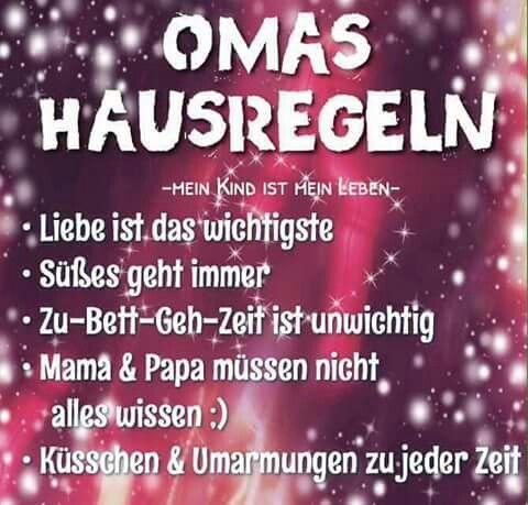 ...OMA'S REGELN ♥♥♥ | Sprüche, Sprüche für oma, Lustige ...