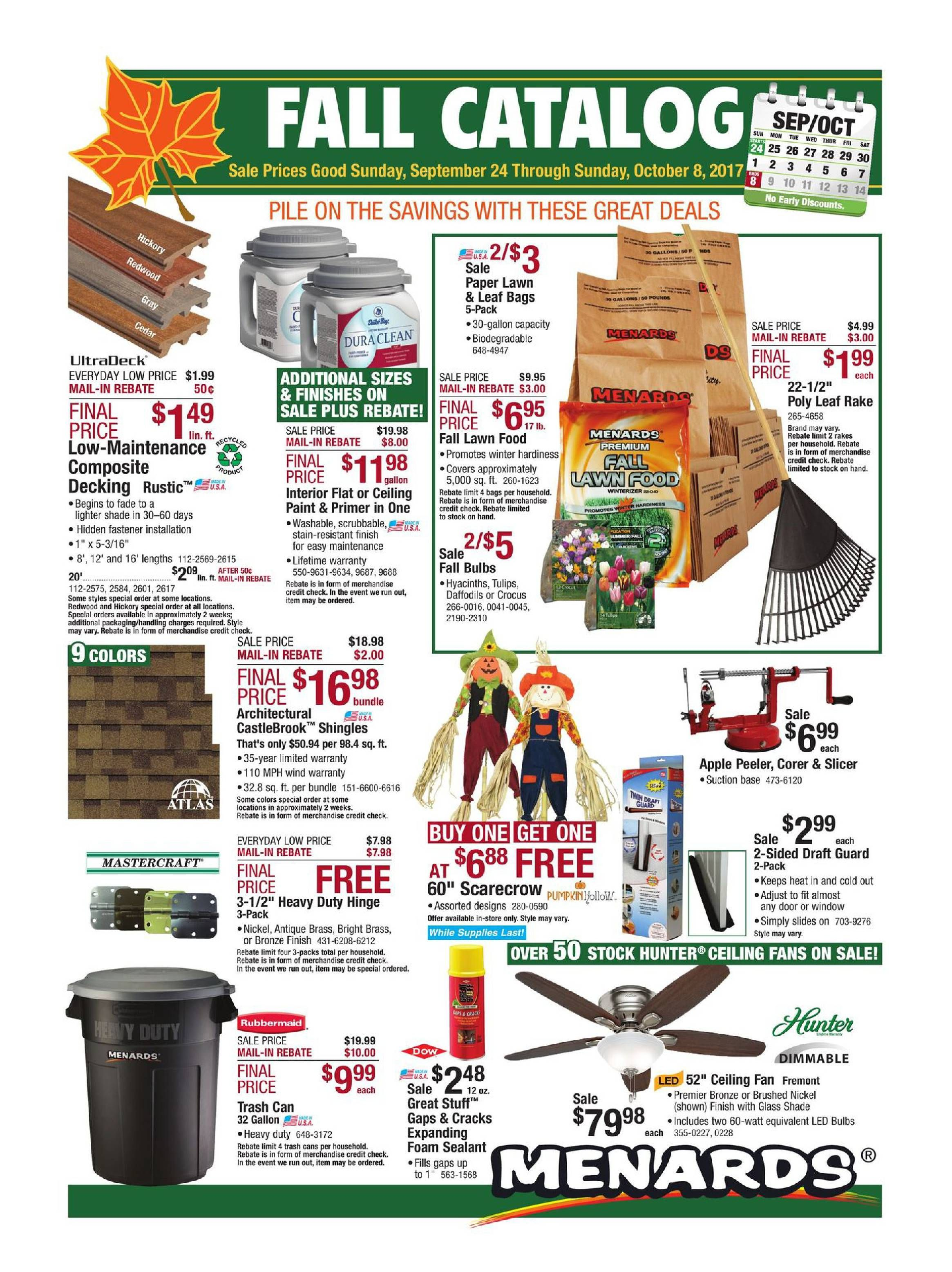 Menards Weekly Ad September 24 October 8 2017 Http Www
