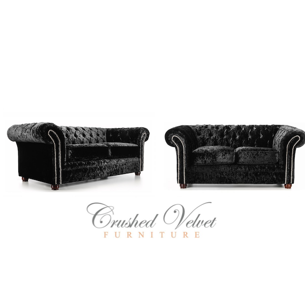 Chesterfield Crushed Velvet Sofa in Black | Decor | Crushed ...