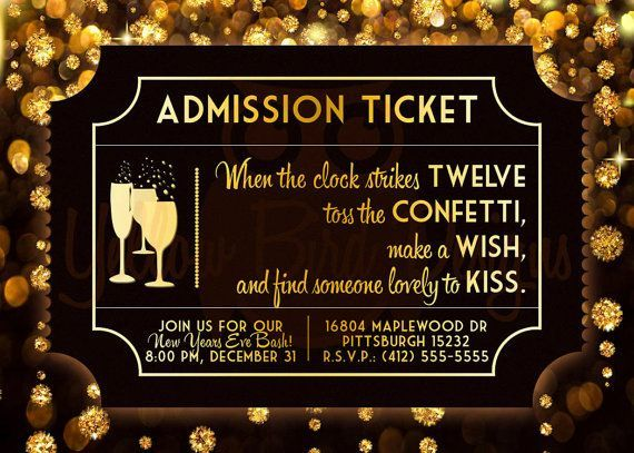 admission ticket black gold printable new years eve party invitation