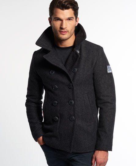 New Mens Superdry Rookie Pea Coat Black