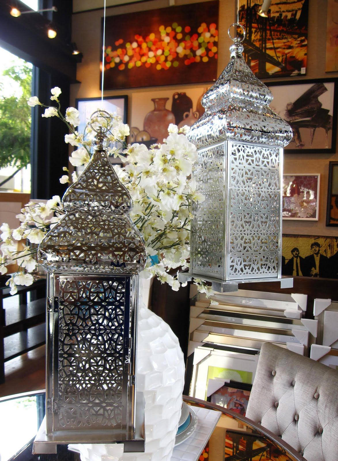 "Z Gallerie - Malta Lanterns - $29.95 each (Pierced nickel plated lanterns. Can be hung or placed on table. 6.5""D x 20""H )"