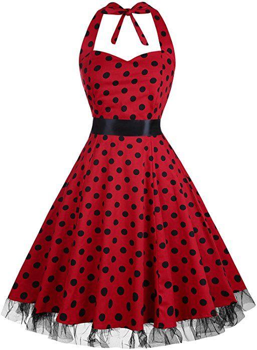 OTEN Damen 50s Vintage Retro Festliche Kleider Neckholder ...