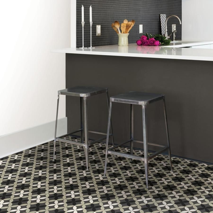 Floorpops 20 Piece 12 In X 12 In Grey Peel And Stick Vinyl Tile Lowes Com Peel And Stick Floor Vinyl Flooring Kitchen Vinyl Flooring