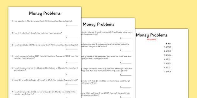 Ks2 Maths Money Problems Worksheets Money Word Problems Money Math Word Problem Worksheets Short division worksheet twinkl