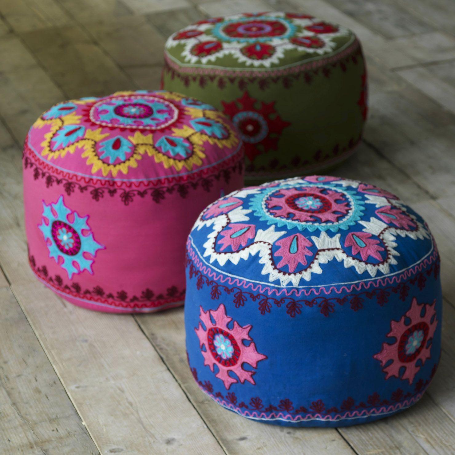 ACHICA | Kashmiri Embroidered Pouf