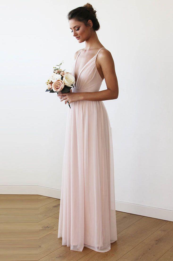 Simple straps v neck pink long bridesmaid dress wedding dresses