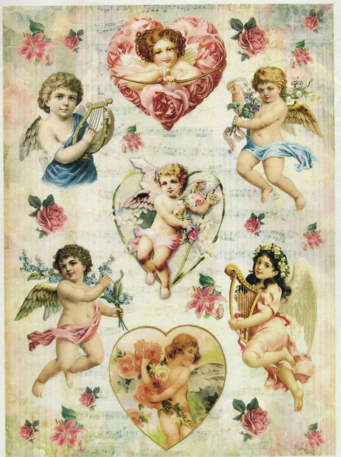 Vintage Valentine cherub angel antique illustrations set of 8 scrapbooking