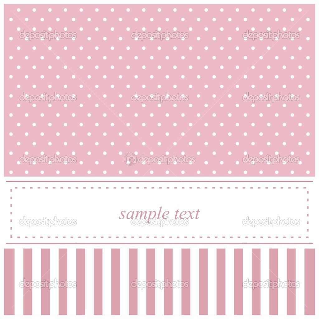 Pink Vector Card Or Baby Shower Invitation With Polka Dots Stock Dot Invitations