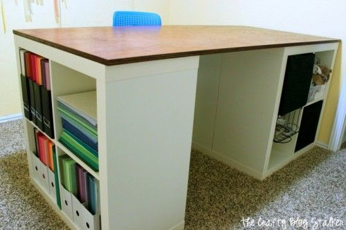 25 Creative Diy Projects To Make A Craft Table How To Make Your Own Custom Craft Table Using Ikea Kallax Shel Craft Table Ikea Craft Table Diy Ikea Crafts