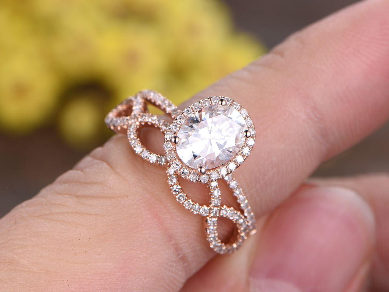 1.5 Carat Oval Moissanite Wedding Sets 14k Rose Gold Diamond Bridal ...