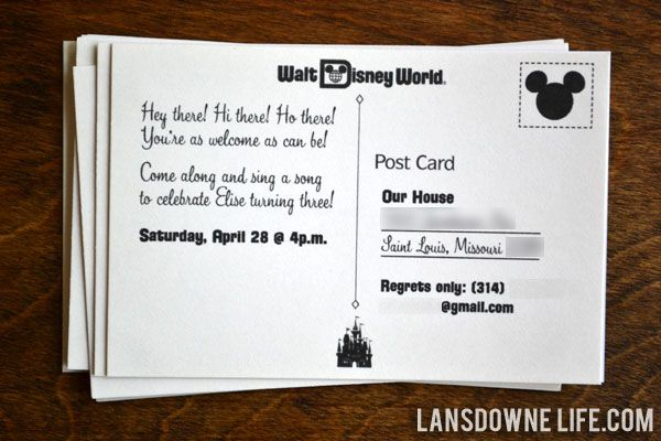 Disney World Magic Kingdom Birthday Party Invitations