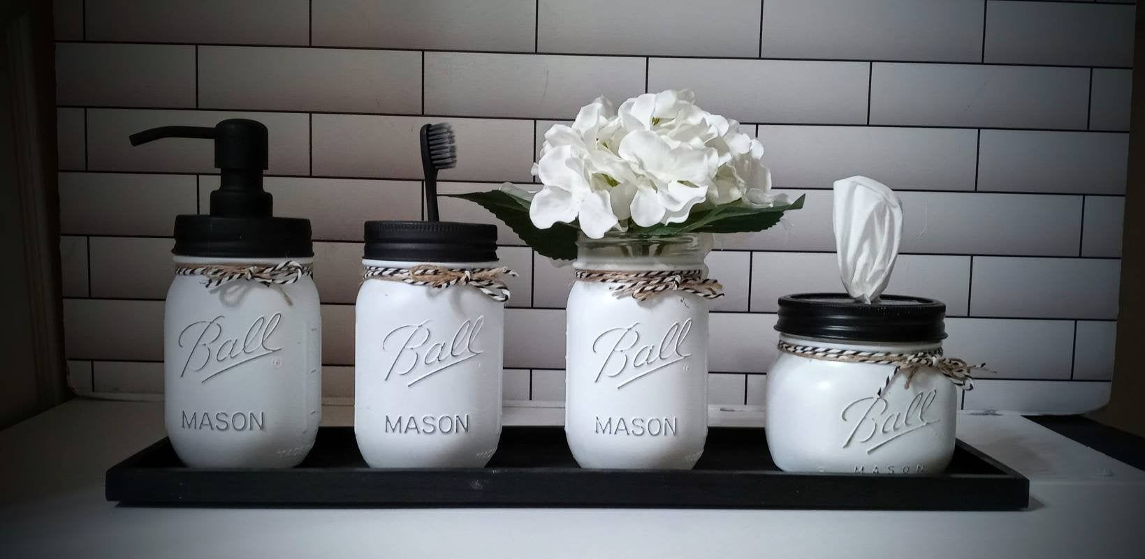Photo of Black and White Mason Jar Bathroom Decor with/wout Tray, Soap Dispenser, Toothbrush Caddy, Vase and Flower + Tissue Jar
