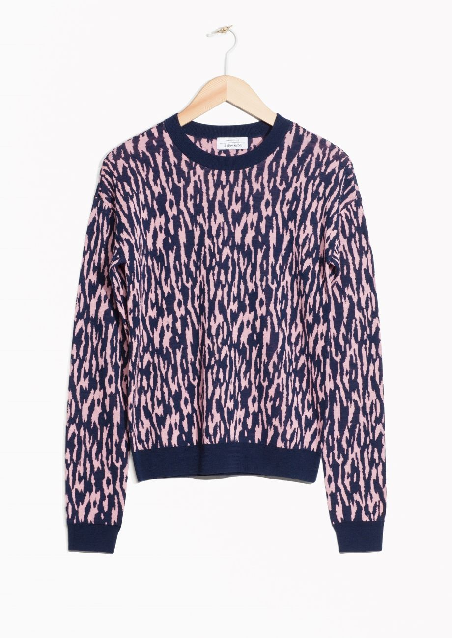 & Other Stories image 1 of Merino Wool Jacquard Sweater in Pink