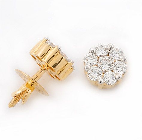7 Stone Diamond Earrings Traditional Stud