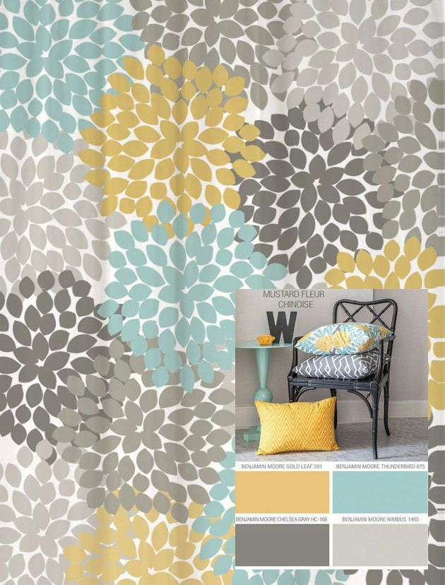 Dahlia Floral Shower Curtain In Yellow Blues And Grays With