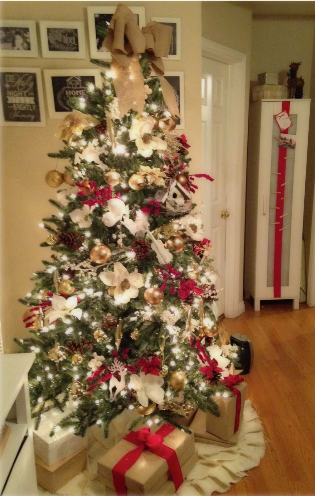 Red, gold, white, and burlap Christmas Tree Green