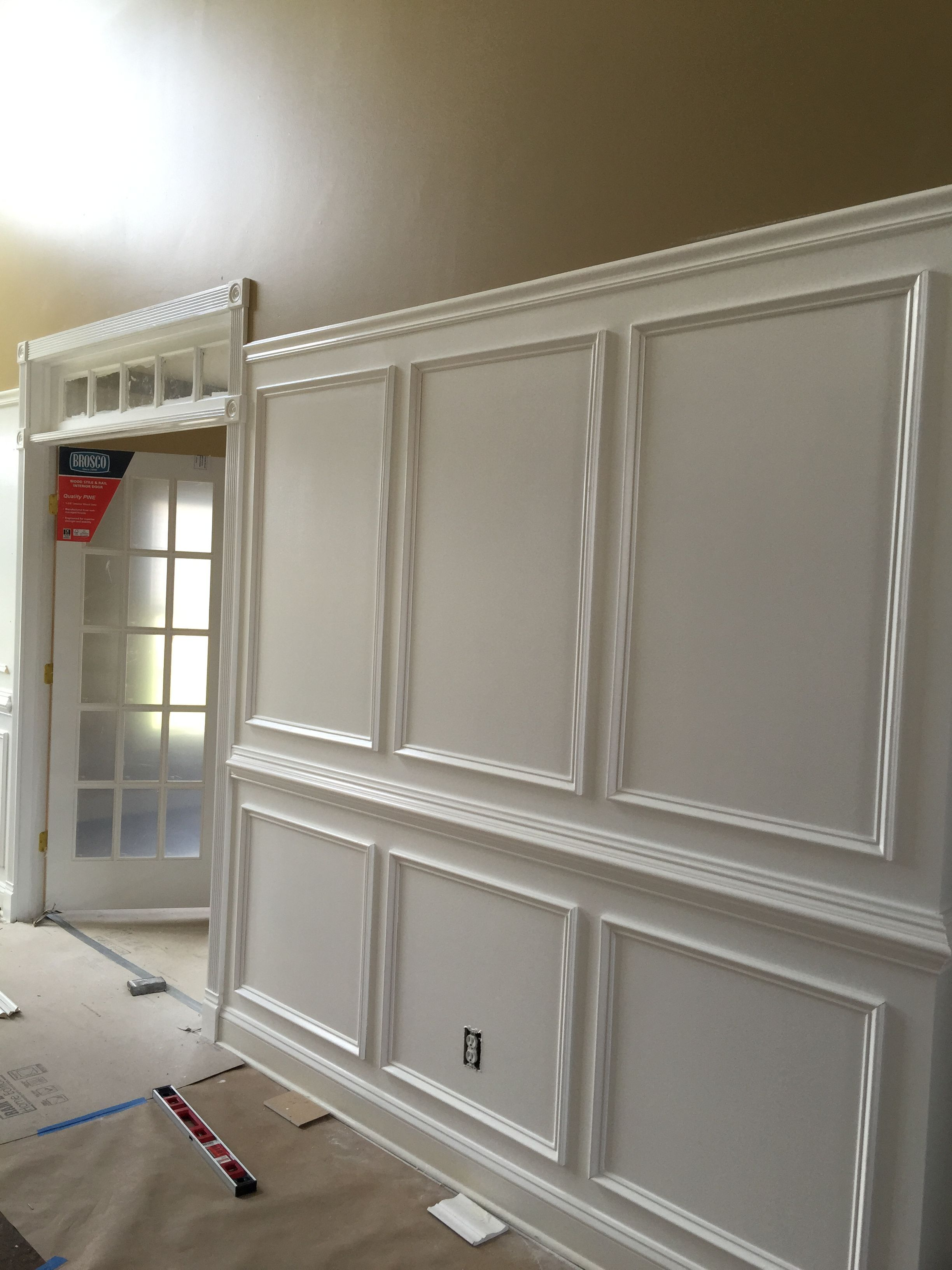 Diy Wainscoting Using Chair Rail And Trim And Picture Frame Moulding Semi Gloss Bright White Paint Ad Wainscoting Height Diy Wainscoting Wainscoting Styles